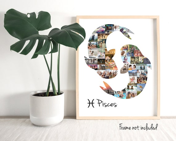 Custom Pisces Zodiac Sign Photo Collage, Personalized Birthday Astrology  Horoscope Photo Gifts - Made with your Digital Pictures!