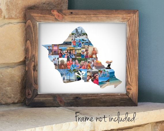 Personalized Oahu Island Hawaii State Map Photo Collage - Vacation Souvenir Gift  - Custom Made with your Digital Pictures