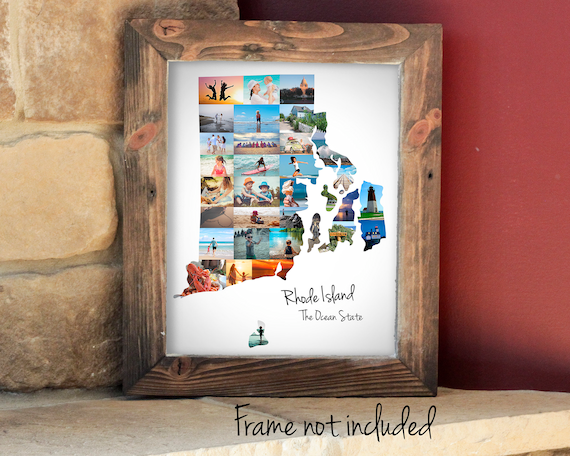 Personalized Rhode Island State Map Photo Collage, Rhode Island State Gift - Custom Made with your Pictures!