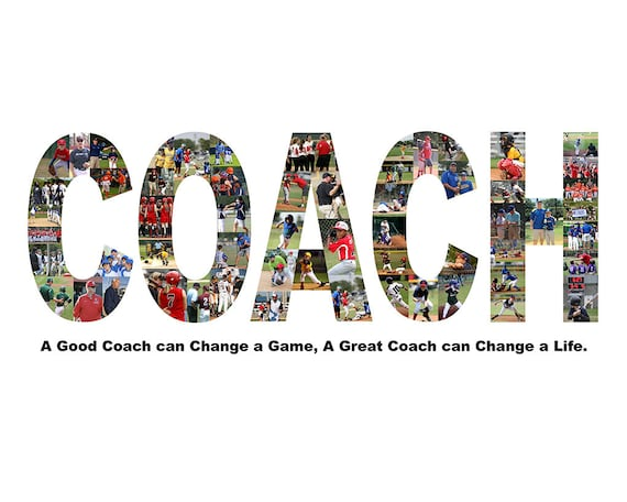 """Personalized Coach Appreciation Gift, Coach Thank You Gift Photo Collage - 12"""" x 24"""""""