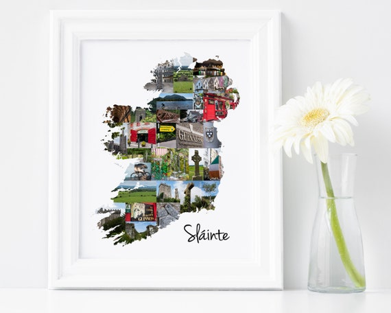 Ireland Map Collage - Printable Wall Art Print - Instant Download Irish Wall Decoration