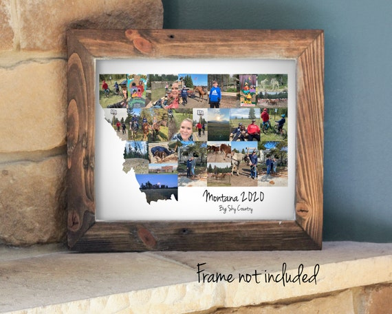 Personalized Montana State Map Photo Collage - Vacation Souvenir - Housewarming Gift  - Custom Made with your Digital Pictures