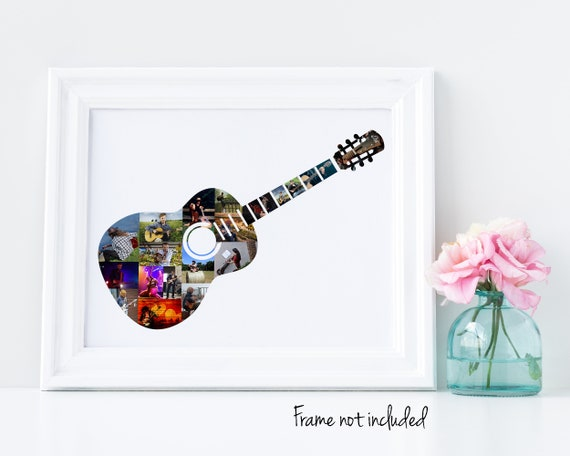 Personalized Guitar Player Gift, Custom Musician Music Photo Collage made from your Pictures!