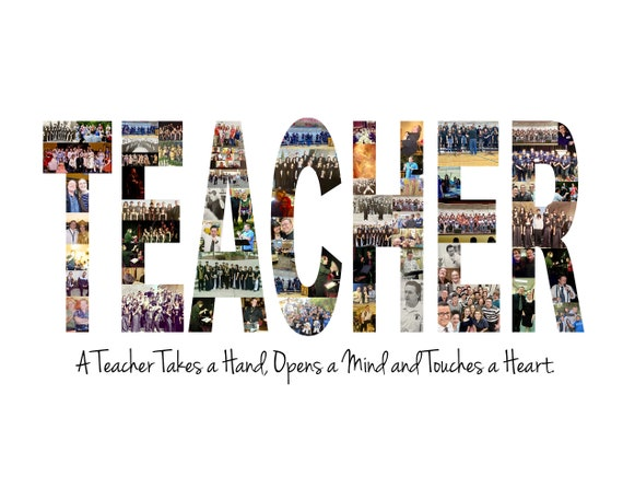 Gift for Teachers - Teacher Appreciation Gift - Personalized Teacher Photo Collage - Custom Made with Your Digital Pictures!
