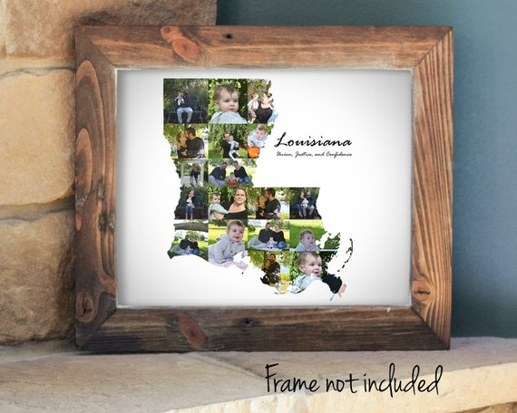 Louisiana Map Photo Collage - State Wall Art Decor - Custom Made with Your Digital Pictures!
