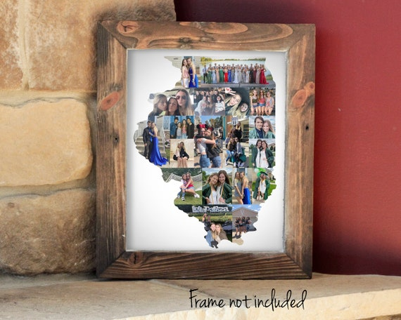 Illinois State Map Photo Collage - Illinois Wall Art Print - Housewarming Gift - Personalized with Your Digital Photographs!