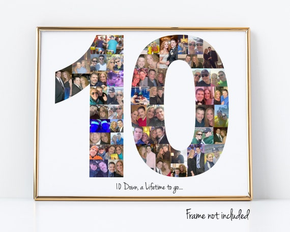 Personalized 10th Birthday Gift - 10th Anniversary Party Decoration - Number 10 Photo Collage - Custom Made with Your Digital Pictures!