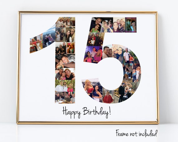 15 Year Anniversary Gift for Her - 15th Birthday Gift or Party Decoration - Personalized with your Digital Pictures!