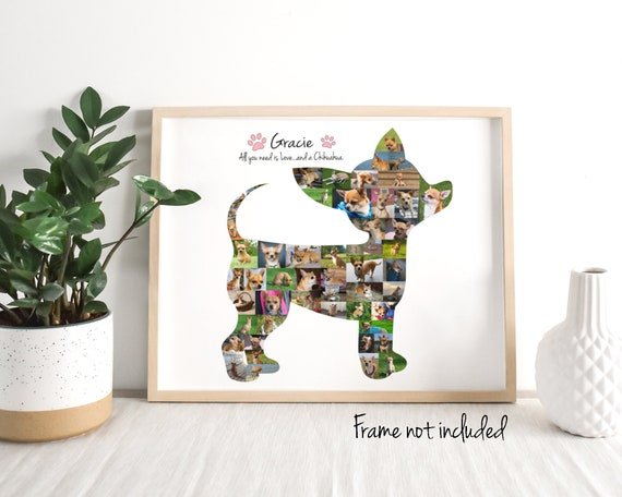 Personalized Chihuahua Photo Collage, Dog Lover Gift, Custom Made with your Digital Pictures!