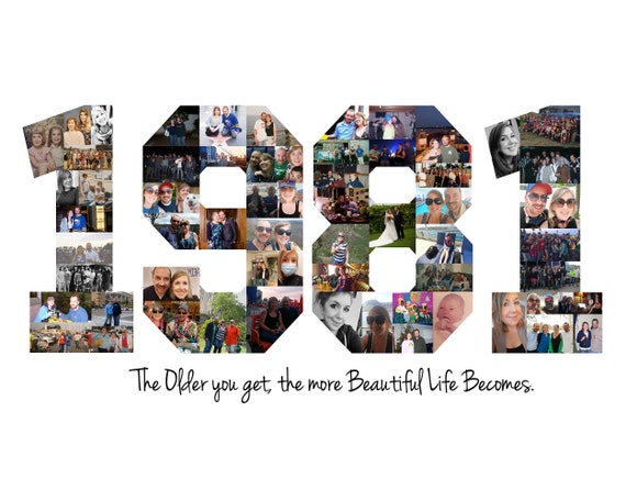 40th Birthday Party Decoration - 40th Birthday Gift - 1981 Year Photo Collage - Custom Made with Your Pictures