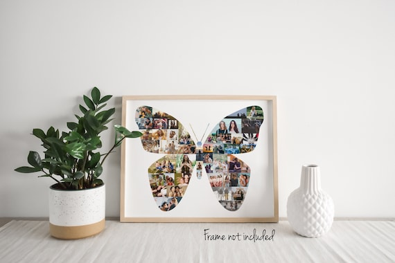 Custom Butterfly Photo Collage - Friend Birthday Gift - Personalized Gift for Her - Butterfly Lover Wall Art Print -Made with Your Pictures!