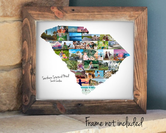 South Carolina Map Photo Collage - Personalized South Carolina State Pride Gift