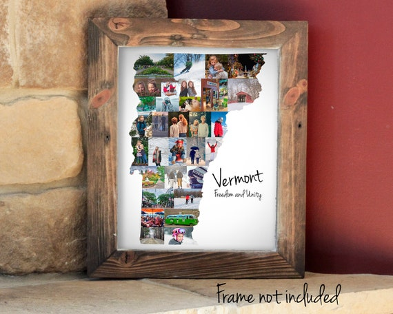Personalized Vermont State Map Photo Collage Gift, Custom Made Picture Collage, Vermont Vacation Travel Souvenir
