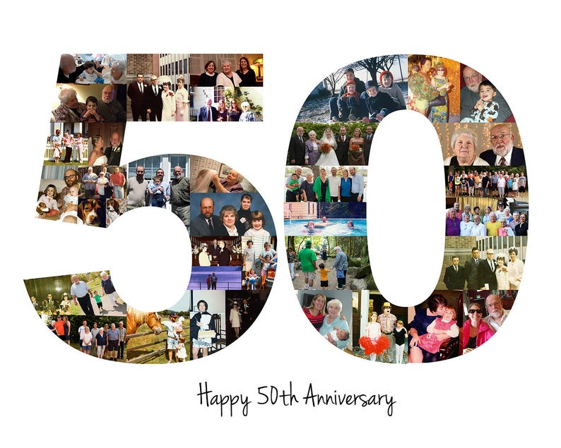 Printable Photo Collage 50th Birthday Gift