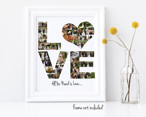 """Personalized """"Love"""" Wedding Anniversary Gift Photo Collage - Custom Made with Your Digital Pictures"""