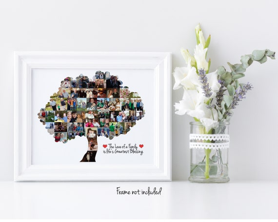 Custom Family Tree Photo Collage, Keepsake Gift, Personalized with your Digital Photographs!