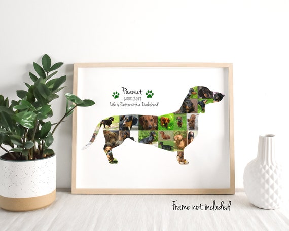 Personalized Dachshund Photo Collage - Dog Pet Memorial Gift - Custom Made with Your Digital Pictures
