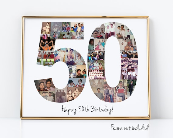 Personalized 50th Birthday Photo Collage Gift - 50th Anniversary Party Decoration