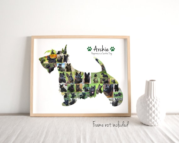 Scottish Terrier Photo Collage, Personalized Scottie Dog Lover Gift, Custom Made with your Digital Pictures!