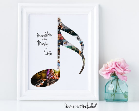 Music Note Photo Collage - Personalized Music Lover Gift - Music Wall Art Decor -  Custom Made with Your Pictures!
