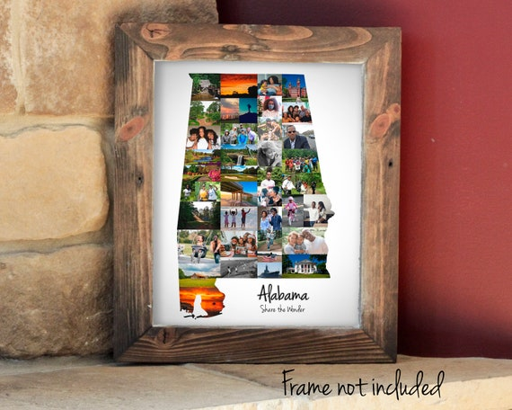 Alabama State Map Photo Collage, Alabama Wall Art Decoration, Housewarming Gift - Custom Made with your Digital Pictures!