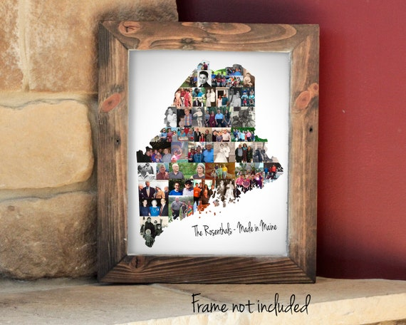Personalized Maine Map Photo Collage - US State Map Photo Collage Gift