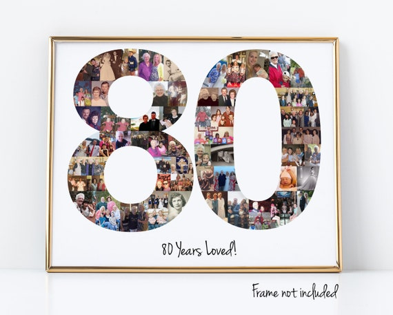 80th Birthday Gift, 80th Birthday Party Decoration - 80 Number Photo Collage - Custom Made with Your Digital Pictures!