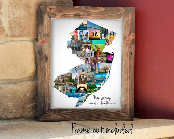 New Jersey Map Photo Collage - Personalized United States Travel Photo Gift