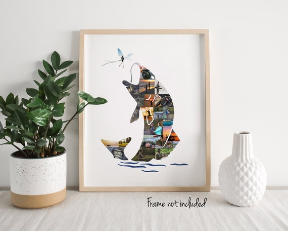 Personalized Fish Photo Collage - Christmas Gift for Him - Fishing Gifts - Custom Made with your Digital Pictures!