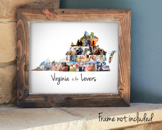 Personalized Virginia State Map Photo Collage Gift, Custom Made Picture Collage, Virginia is For Lovers