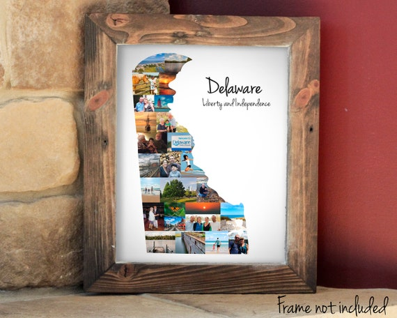 Personalized Delaware Map Photo Collage, Delaware State Wall Art Gift - Custom Made with Your Digital Pictures!