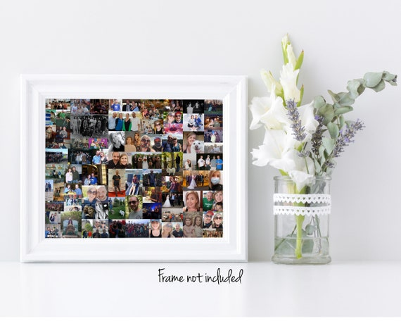 Custom Photo Collage Keepsake Art Print - Holds Up to 100 of Your Digital Pictures!  Great Birthday or Christmas Gift!