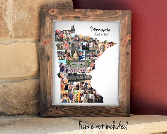 Personalized Minnesota State Map Photo Collage, Travel Souvenir Gift