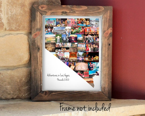Custom Nevada State Map Wall Art Print, Personalized Nevada Photo Collage - Made with your Digital Pictures!