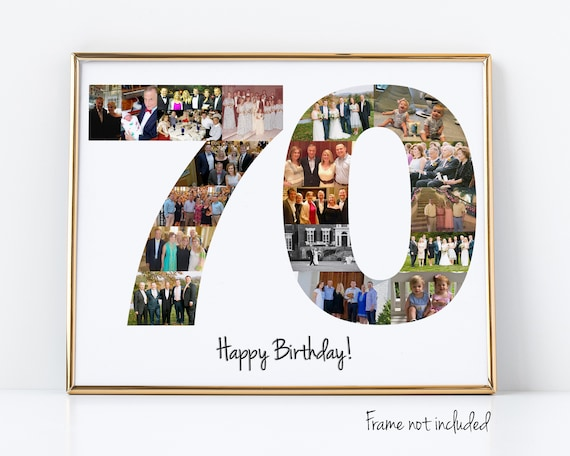 Personalized 70th Birthday Gift or Party Decoration, Custom Number Photo Collage Made with your Pictures!