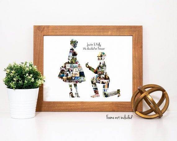 Personalized Engagement Gift For Couples, Party Decoration, Wedding Proposal Gift - Photo Collage Custom Made with your Digital Pictures!