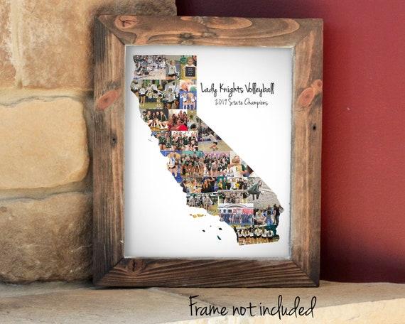 Custom California State Map Wall Art Print, Personalized California Photo Collage