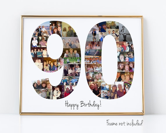 Personalized 90th Birthday Gift, Number Photo Collage, 90th Party Decoration, Picture Collage, Custom Made from your Photographs!