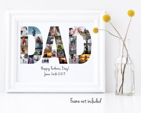 Personalized Father's Day Gift, Dad Photo Collage - Custom Made from your Digital Pictures