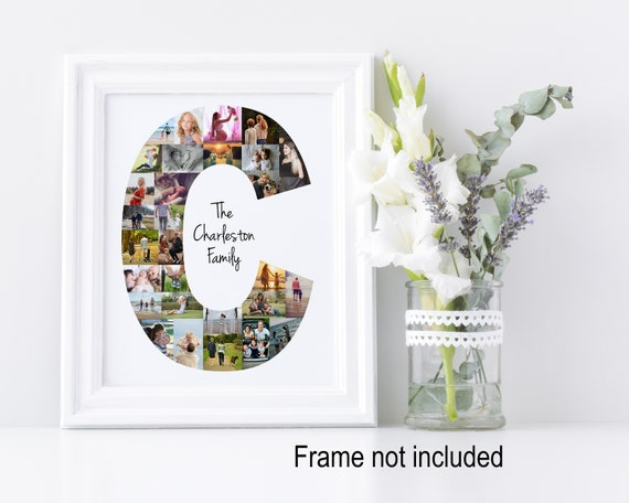 Letter C Photo Collage - Personalized Monogram Picture Collage - Birthday Wedding Gift