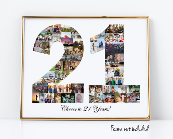 21st Birthday Gift For Her - Personalized 21 Photo Collage Party Decoration - Custom Made with Your Digital Pictures!