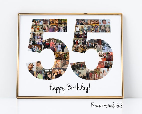 55th Birthday or Wedding Anniversary Gift - Number Photo Collage - Personalized with your Digital Photographs