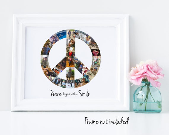 Personalized Peace Sign Photo Collage, Peace Symbol - Custom Made with Your Digital Pictures!