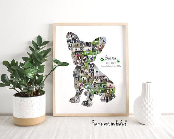 Personalized French Bulldog Photo Collage, Frenchie Dog Lover Wall Decor Art Print Gift