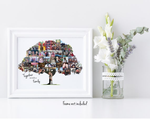 Personalized Family Tree Photo Collage, Christmas Gift for Parents - Custom Made with Your Digital Pictures