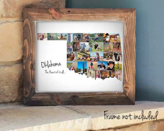 Personalized Oklahoma State Map Photo Collage, Oklahoma State Pride Wall Art, Custom Made with Your Pictures