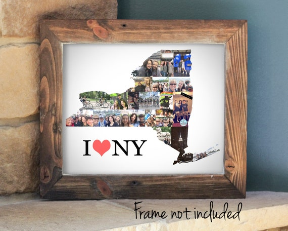 Personalized Housewarming Gift,  New York State Map Photo Collage - Custom Made with Your Digital Pictures