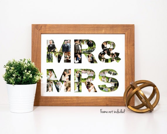Personalized Wedding Anniversary Gift - Custom Made Photo Collage - Made with Your Digital Pictures!