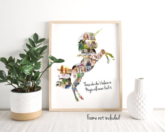 Personalized Unicorn Photo Collage Gift - Custom Made with your Digital Pictures!