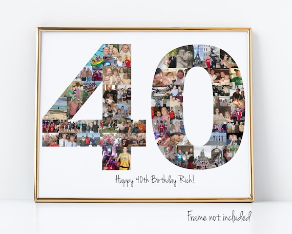 40th Birthday Party Decoration - Photo Collage Sign - Custom Birthday Gift Made with Your Digital Pictures!